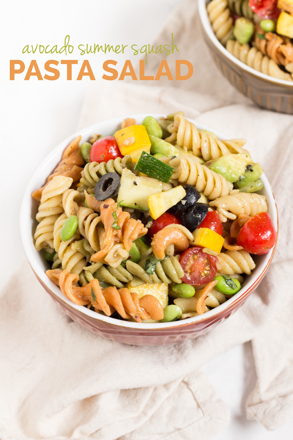 Avocado (Zucchini) Summer Squash Pasta Salad (Vegan) via @ExSloth | ExSloth.com