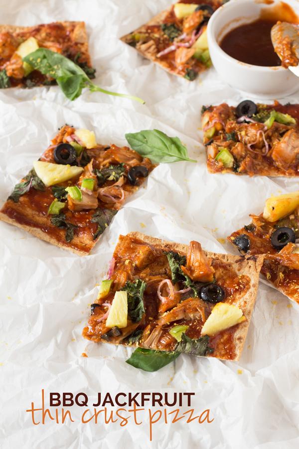 Thin Crust BBQ Jackfruit Pizza with lavish bread (Vegan) via @ExSloth | ExSloth.com