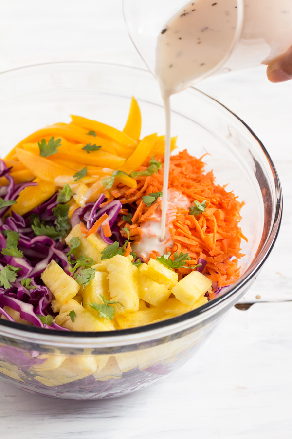 Easy Red Cabbage Tropical Mango Pineapple Slaw (adapted from the classic Caribbean coleslaw) Vegan, Gluten-Free via @ExSloth | ExSloth.com