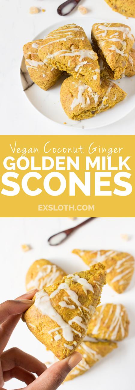 Vegan Coconut Ginger Golden Milk Scones (made with turmeric and spelt flour) via @ExSloth | ExSloth.com/vegan-golden-milk-scones/