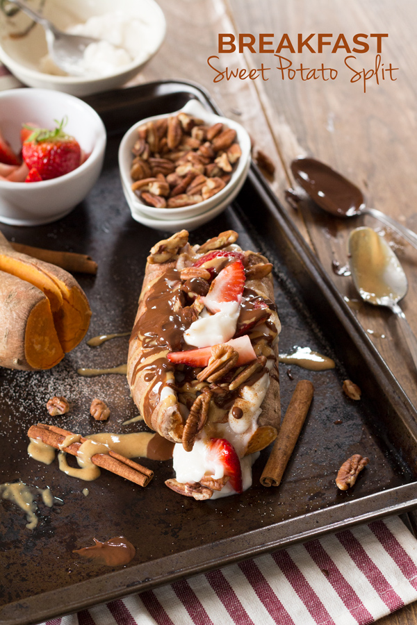 Easy 10 minute vegan breakfast sweet potato split (paleo-friendly, gluten-free) via ExSloth.com
