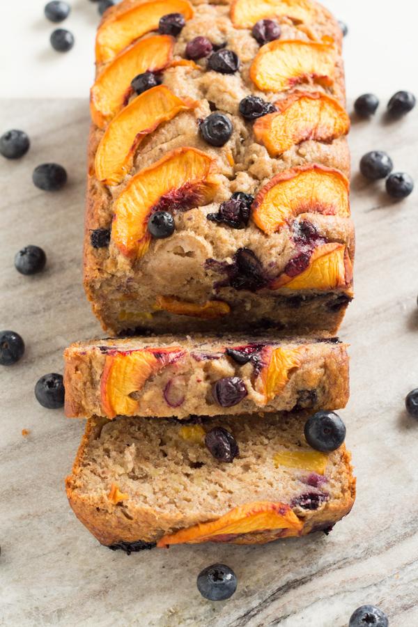 1 Bowl Blueberry Peach Vegan Banana Bread (made with spelt flour) | ExSloth.com