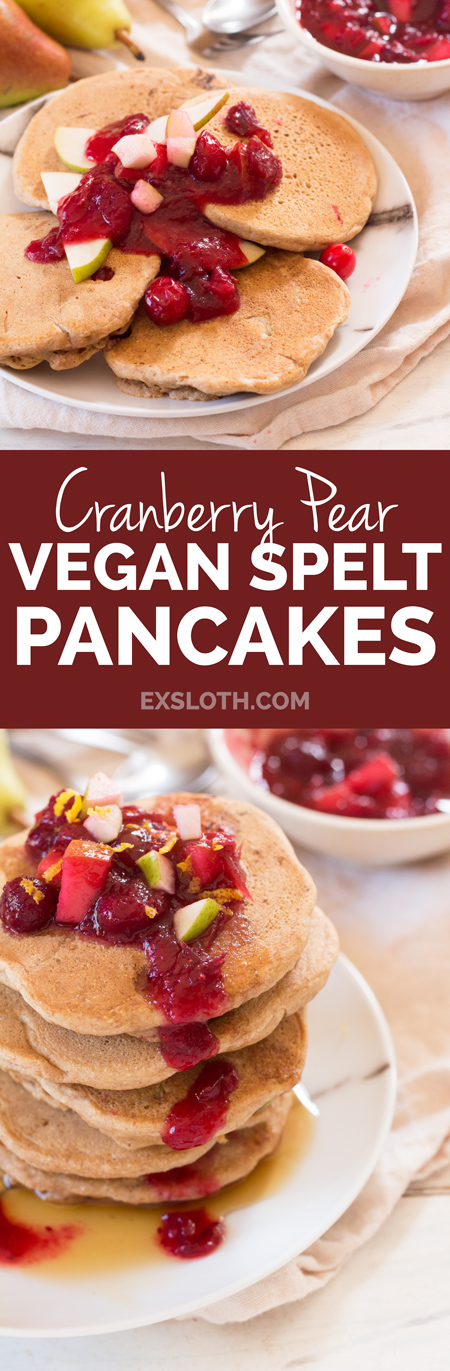 Cranberry Pear Vegan Spelt Pancakes ( the perfect fall breakfast made with light and whole spelt flour) via ExSloth.com