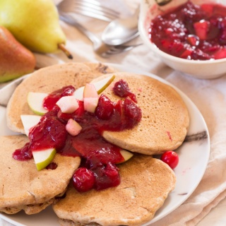 Cranberry Pear Vegan Spelt Pancakes