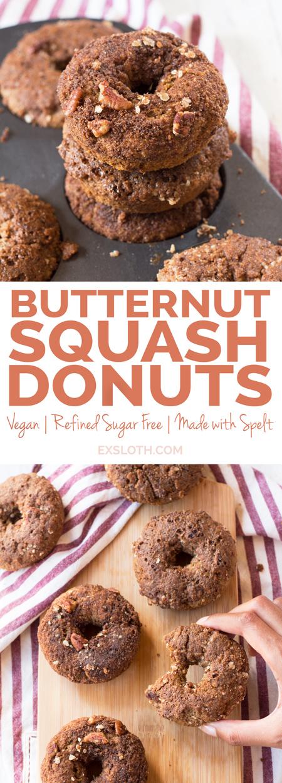 Vegan Baked Butternut Squash Donuts (made with spelt flour and refined sugar free) via ExSloth.com
