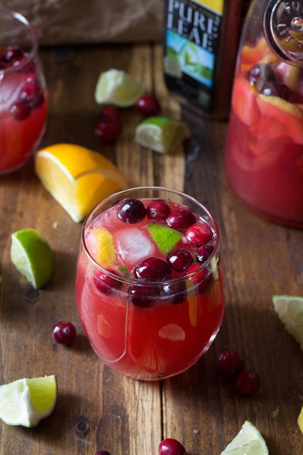 Easy Citrus Cranberry Holiday Sangria with Pure Leaf Tea via ExSloth.com