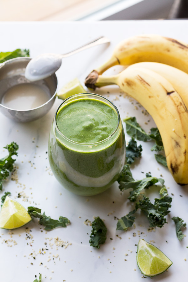 This tropical ginger hemp seed smoothie is easy to throw together, portable, delicious and it's filled with plant-based protein thanks to the hemp seeds   ExSloth.com